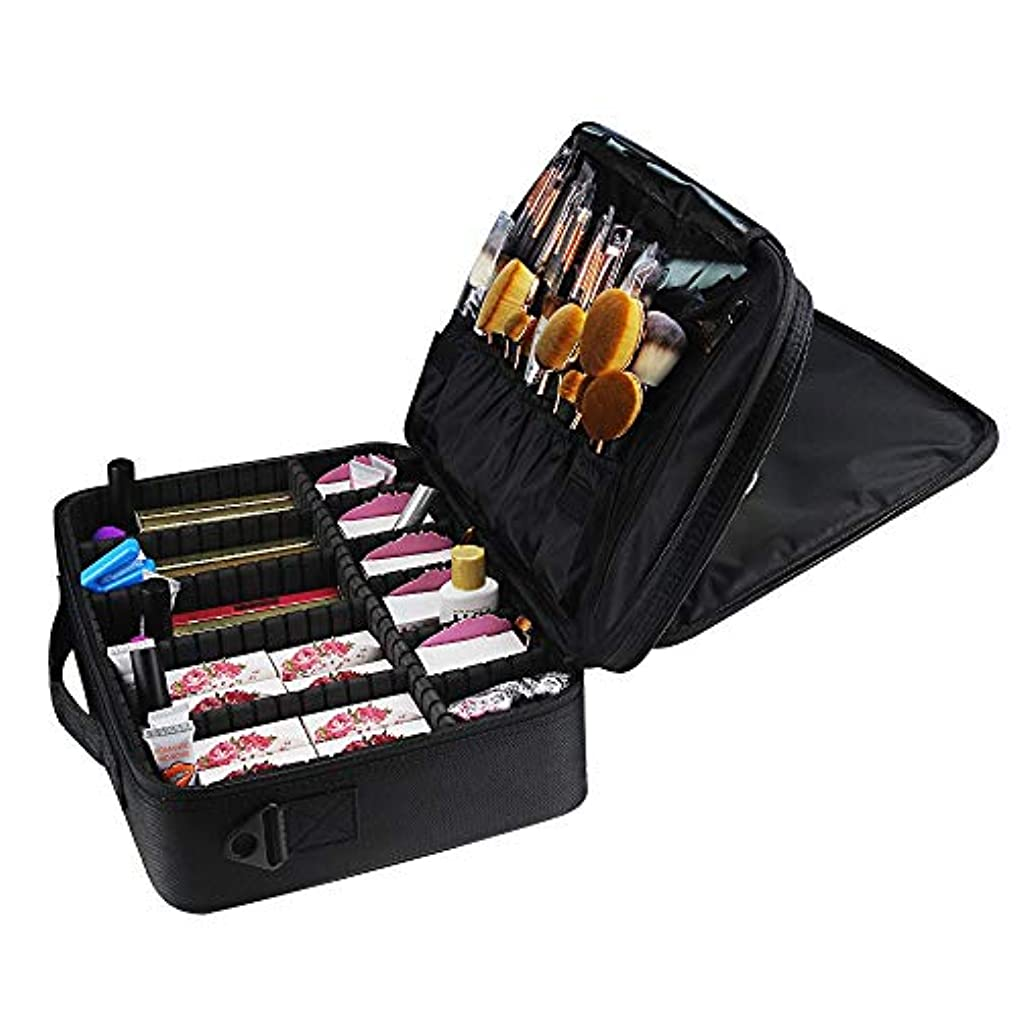 振る舞いマトン矛盾特大スペース収納ビューティーボックス 女の子および女性のための調節可能な肩ひものディバイダーの収納箱が付いている旅行化粧品袋の革収納袋 化粧品化粧台 (色 : ブラック)
