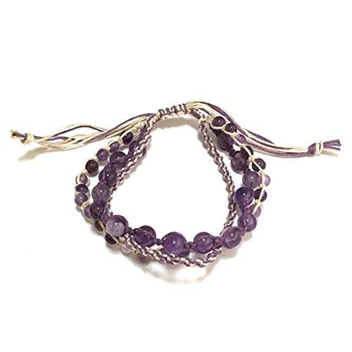 ヘンプ編み ラベンダーアメジスト ブレスレット フリーサイズ 男女兼用 ヘンプ パワーストーン ミサンガ 紫水晶