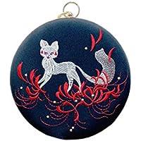 ACVIP Women's Girl's Equinox Flower Fox Embroided Chinese Wristlet Clutch Chain Handbag Mini