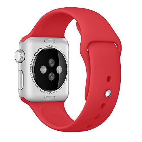 純正 アップルウォッチ Apple Watch 交換用 スポーツバンド S/M & M/L (38mm, レッド)