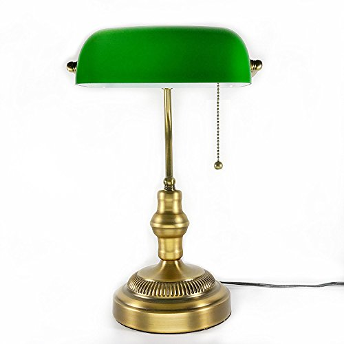 RoomClip商品情報 - バンカーズランプ 黄銅メッキ スタンドライト アンティーク E26口金 LED電球対応可 電球別売り 黄銅メッキ ベッドサイド スタンド デスクライト アンティークランプ (緑)