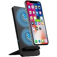 Zenic 【進化版】 Qi 急速 ワイヤレス充電器 2in1 折り畳み式 ワイヤレスチャージャーUSBケーブル付きiphone8 iphoneX GalaxyS9/S9+/S8/S8+/S7/S7Edgeなど対応 USBケーブル付き (ブラック)