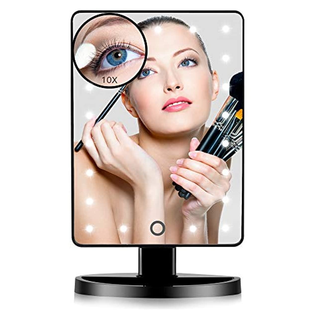 下向き有能な収縮FASCINATE 化粧鏡 化粧ミラー 鏡 女優ミラー 卓上 21 led 拡大鏡 10倍 明るさ調節可能 180°回転 電池給電