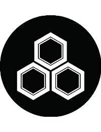 家紋シール 三つ盛り亀甲紋 布タイプ 直径40mm 6枚セット NS4-1440