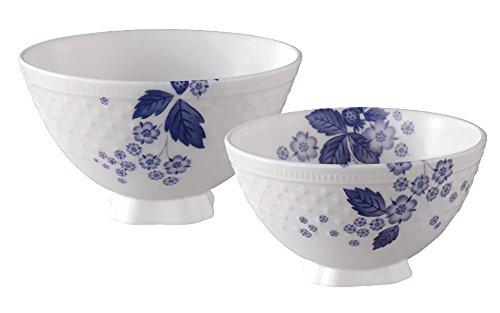 【正規輸入品】 ウェッジウッド ストロベリー ブルーム インディゴ 夫婦茶碗 (ライスボール M&L) SC109202001