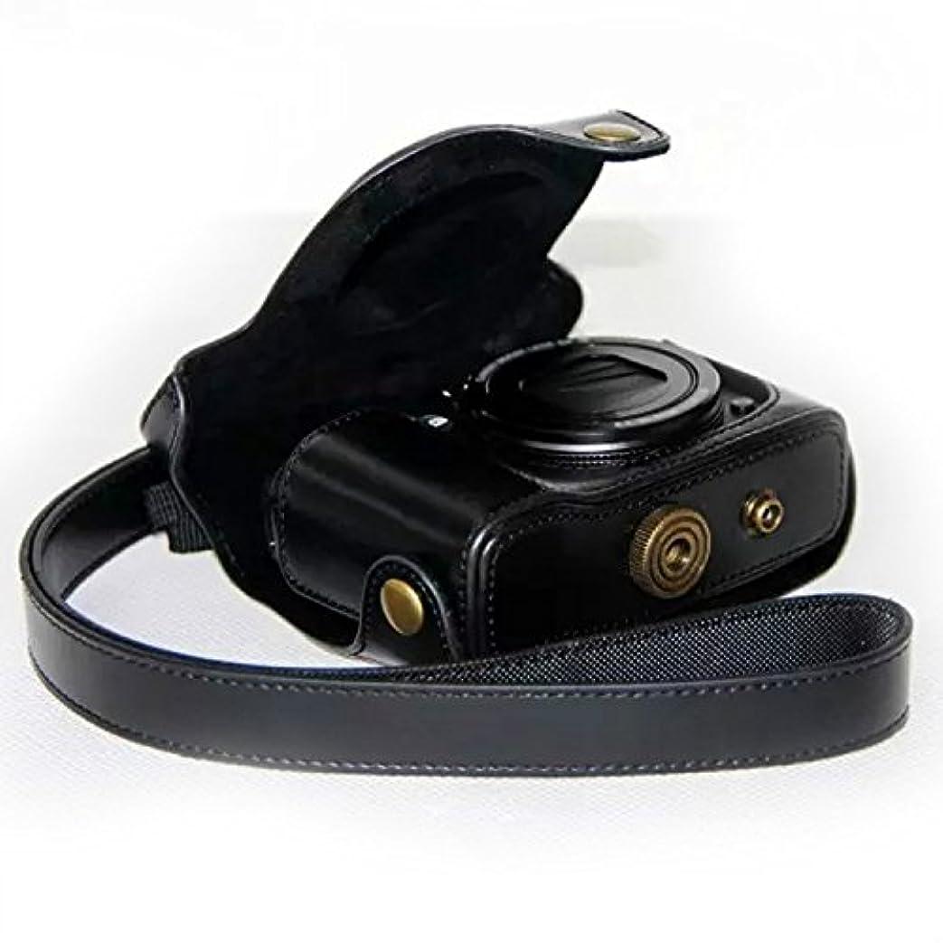 境界嫌い組No1accessory XJPT-G16-01 ブラック Canon PowerShot G15 G16 専用 防水 PU レザー 一眼レフ カメラバッグ カメラケース ハンドストラップ 付き [並行輸入品]