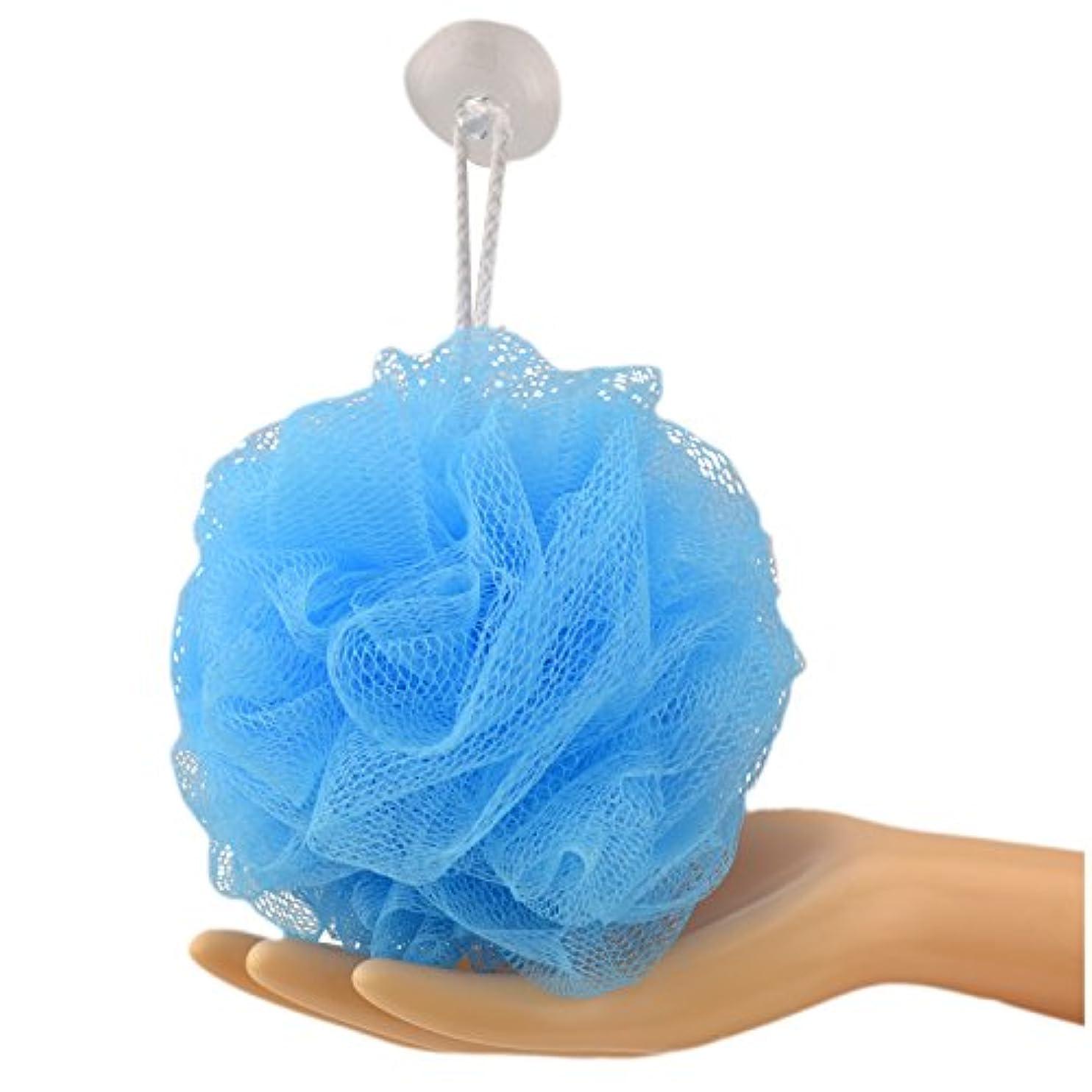 一枚入 耐久性のボディウォッシュボール崩れない 長持ち、沐浴球全6色フラワーボール泡立てネット ボディ、花ボディースポンジ (Large 60g, ブルー)