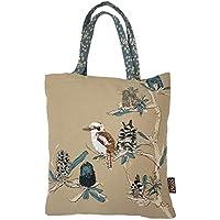 The Linen Press Designer Canvas Shopping Tote Bag – Australian Certified Organic Cotton – Kookaburra & Banksia Design with Gorgeous Embroidery