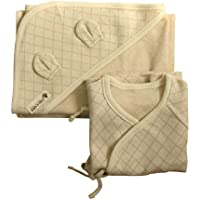 100% Organic Cotton Newborn Long Sleeve Side Snap Shirt, Swaddle Blanket by Gift Set