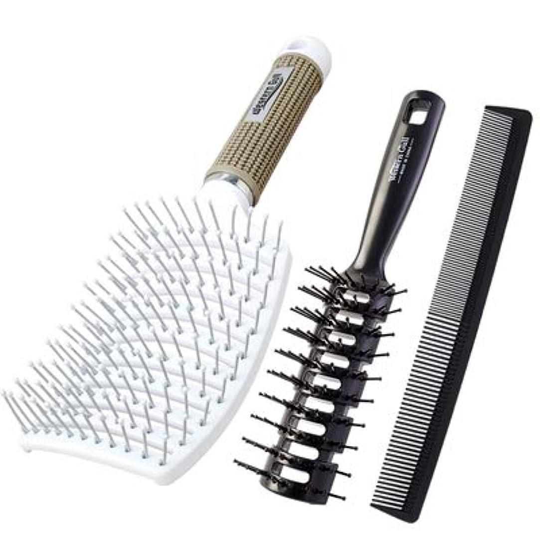 外国人宝石つば男性専用のスペアリブのくしで髪をブローしてヘアスタイルを定型化します。