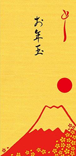 金色 金封 万円袋 お年玉 富士山 【 5枚入】ぽち袋長タイプ