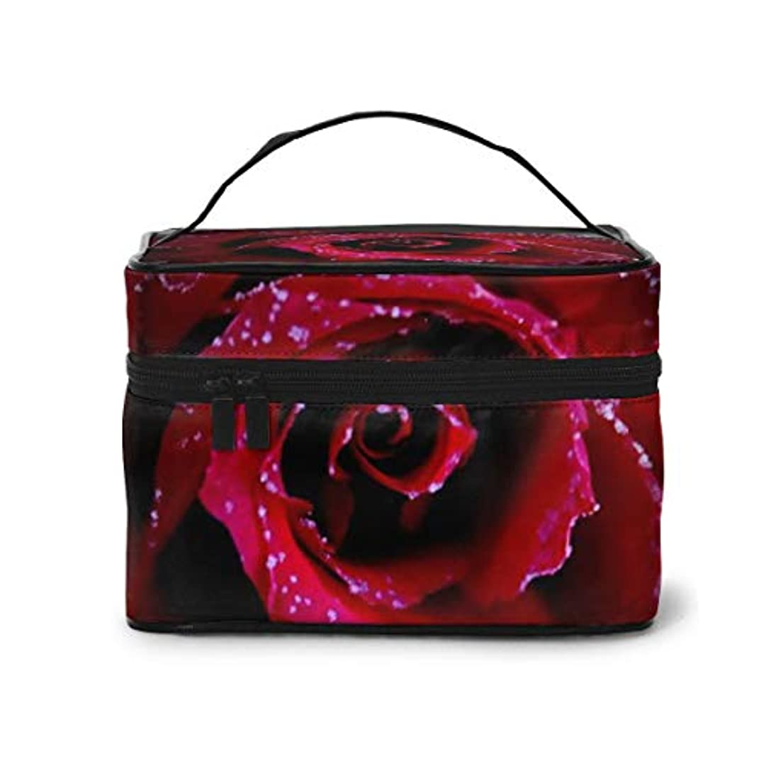 真っ逆さまボウル風刺メイクポーチ 化粧ポーチ コスメバッグ バニティケース トラベルポーチ 薔薇 レッド 雑貨 小物入れ 出張用 超軽量 機能的 大容量 収納ボックス