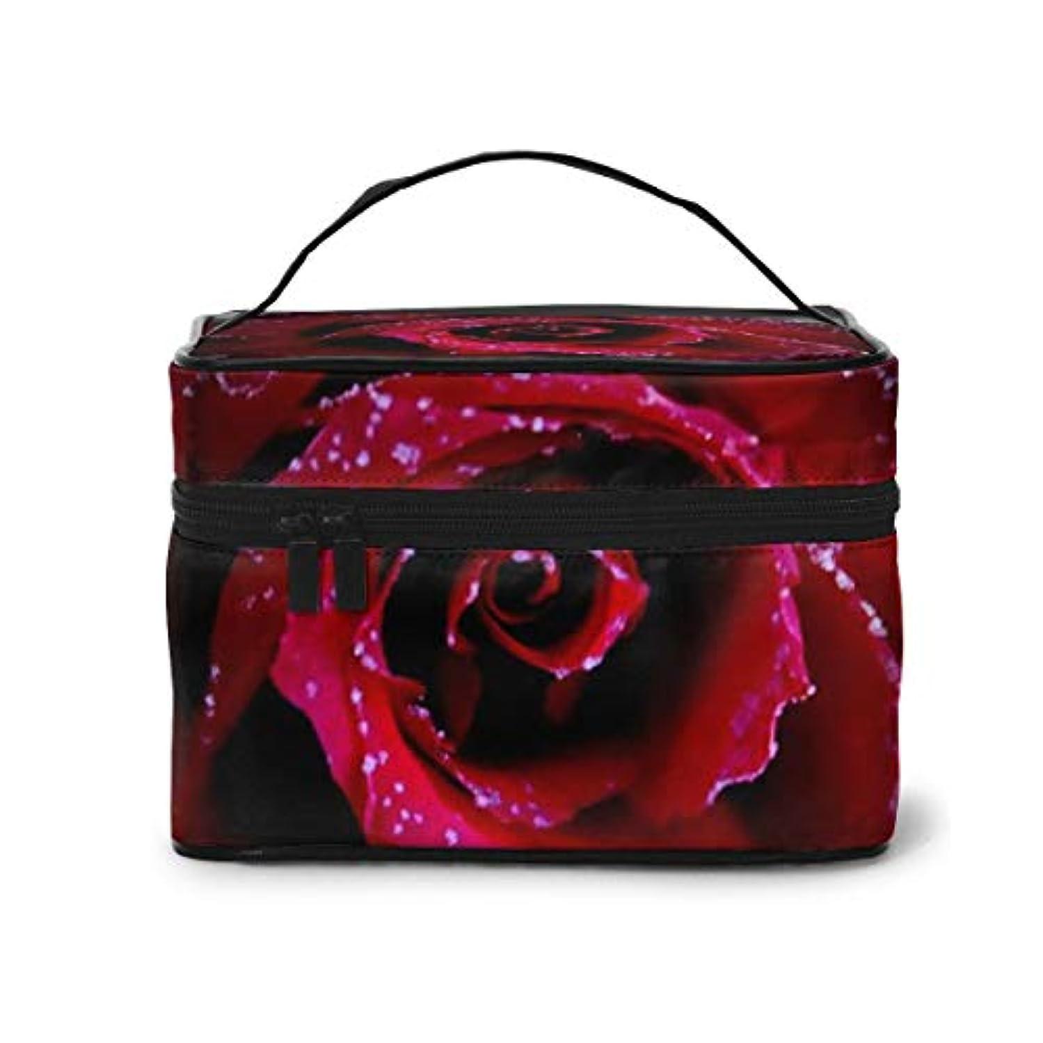 クレデンシャル剃る成果メイクポーチ 化粧ポーチ コスメバッグ バニティケース トラベルポーチ 薔薇 レッド 雑貨 小物入れ 出張用 超軽量 機能的 大容量 収納ボックス