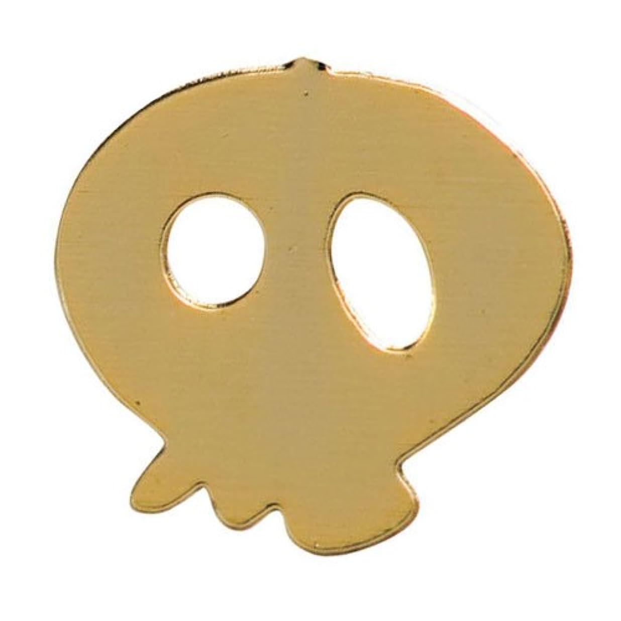 掘る延期する真実にリトルプリティー ネイルアートパーツ スカル ゴールド 10個