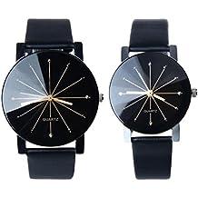 watch, SMTSMT 1Pair Men and Women Quartz Dial Clock Leather Wrist Watch Round Case
