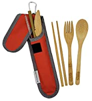 バンブートラベル用品セット バンブーフォーク ナイフ スプーン 箸 ストロー ストロークリーニングブラシ トラベルポーチ カラビナ 日常使いに最適 Bamboo Essentials レッド