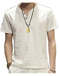 スウェット Vネック 半袖 Tシャツ 麻 無地 ストリート系 カジュアル シャツ メンズ