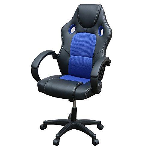 Pananaハイバック オフィスチェア 競技用メッシュ ゲーミングチェア 調整可能アームレスト パソコンチェア s字カーブ ロッキング機能 高さ110.5~120x奥行き66.5(ブルー)