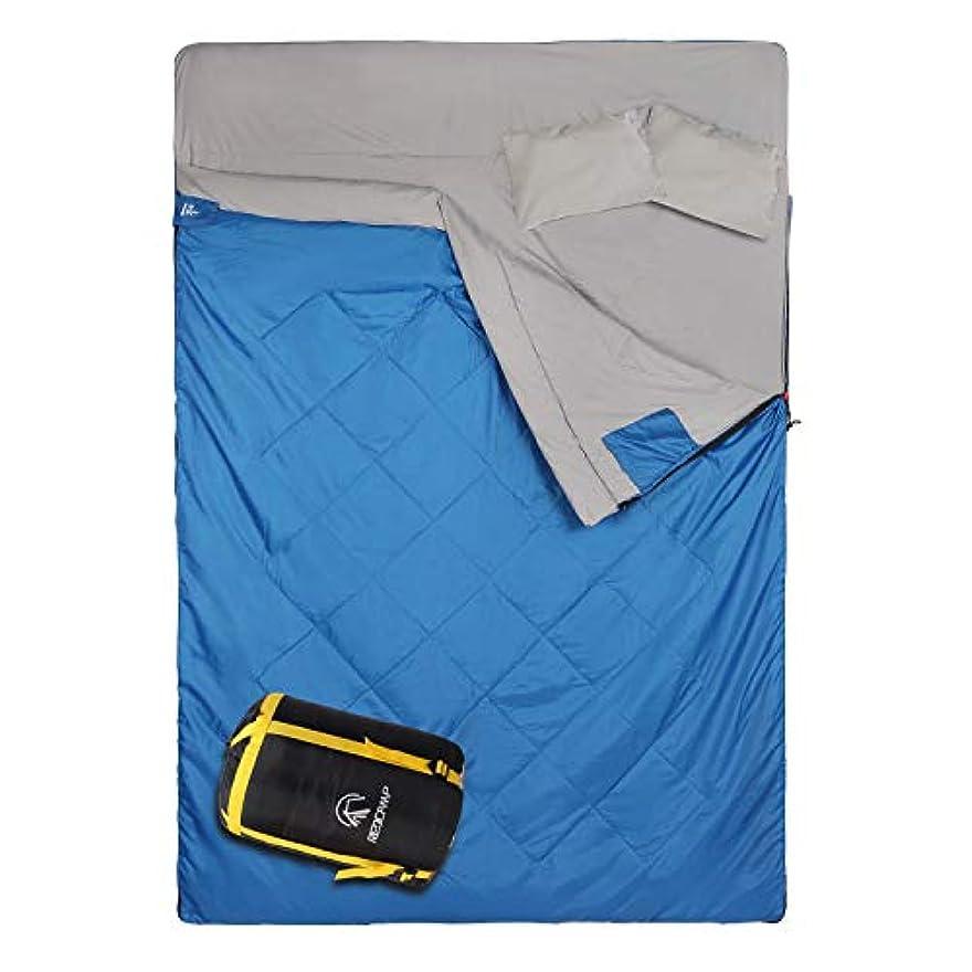 安いですミシン調べるREDCAMP Double Sleeping Bag for Camping,2 Person Sleeping Bags with 2 Pillows, Queen Size Blue 3.3lbs Filling(75+12)