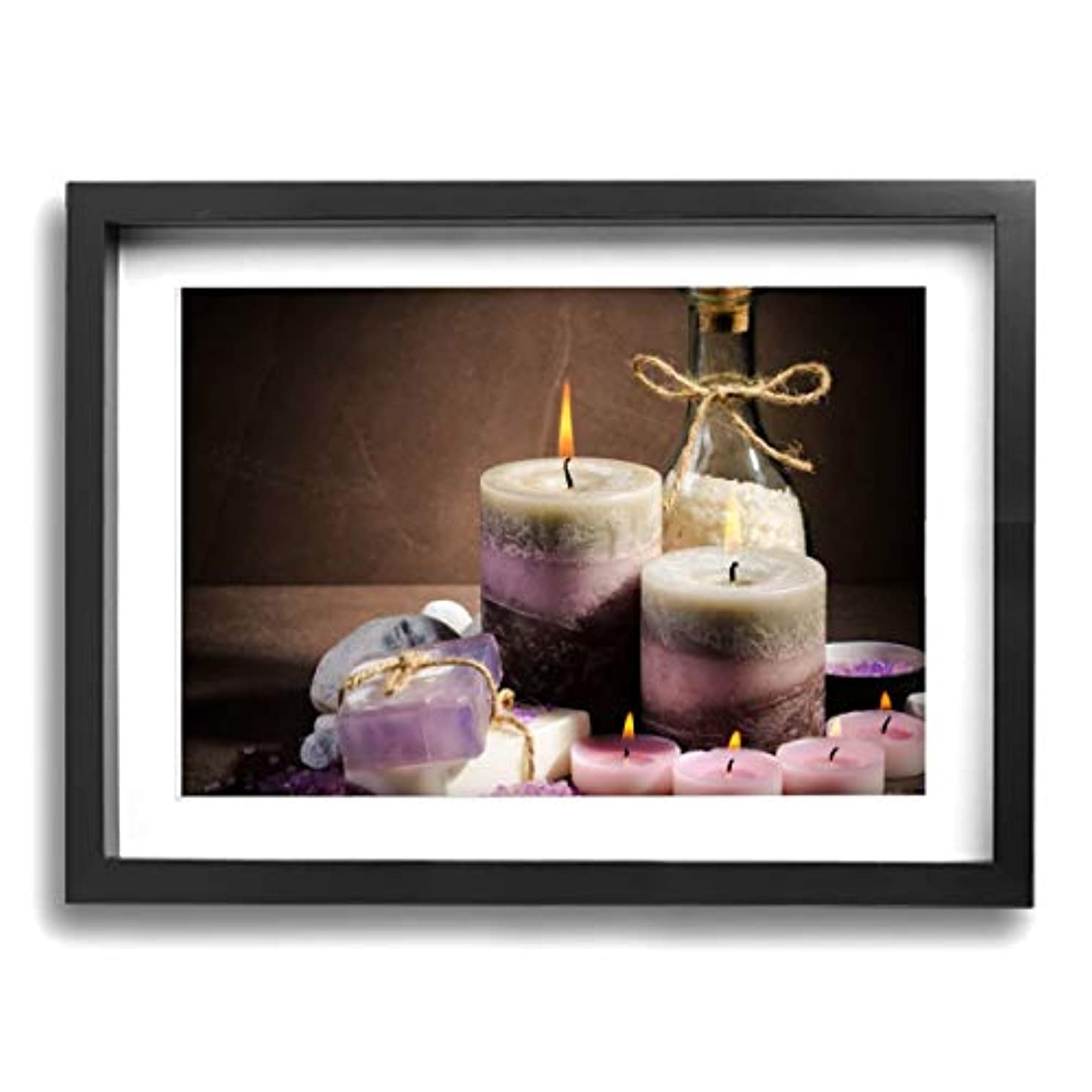 湖チーフ無心魅力的な芸術 30x40cm Spa Purple Color Candle Oil キャンバスの壁アート 画像プリント絵画リビングルームの壁の装飾と家の装飾のための現代アートワークハングする準備ができて