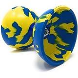 ディアボロ METEOR マーブル (Mサイズ) 4点セット (ファイバーハンドスティック・予備ひも10m・バック付)(青黄)