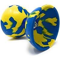 ディアボロ METEOR マーブル (Mサイズ)  4点セット (木製スティック・予備ひも10m・バック付) (青黄)