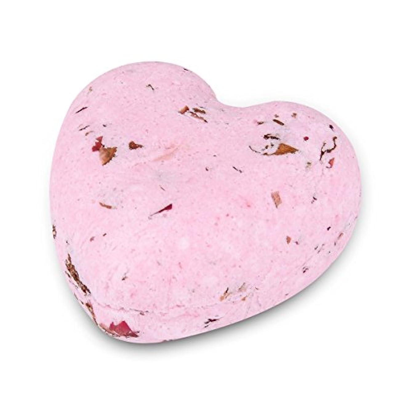 HOUSWEETY ローズの香り ハート型 バスボム 炭酸入浴剤 入浴料 海塩 アロマオイル バスボール 1個入り