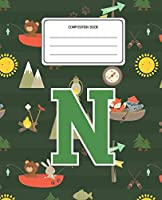 Composition Book N: Camping Pattern Composition Book Letter N Personalized Lined Wide Rule Notebook for Boys Kids Back to School Preschool Kindergarten and Elementary Grades K-2