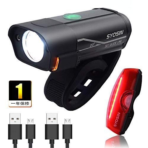 自転車ライト USB 充電式 LEDヘッドライト、テールライト セット 600ルーメン高輝度 前照灯 防水 取り付けやすい 成人や子供用自転車兼用 日本語説明書付き