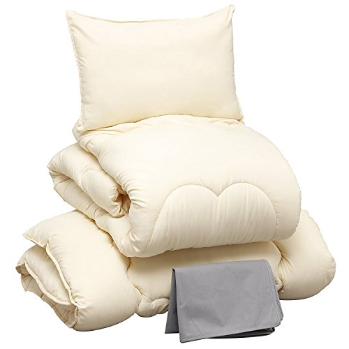 アイリスプラザ 布団 4点セット シングル アイボリー 掛け布団 敷布団 枕 増量タイプ 洗える ほこりの出にくい布団 きめ細やかなピーチスキン加工 低ホルムアルデヒド仕様 収納ケース付