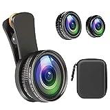 スマホ用カメラレンズ 235°魚眼レンズ+15Xマクロレンズ+0.4X広角レンズ+12Xマクロレンズ 4in1クリップ式 高画質 自撮り 接写 歪みなし iPhone/iPad/Android全機種対応 簡単装着 携帯レンズ 収納ケース付き 品質保証