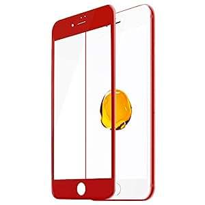 TC JOY iPhone7 強化ガラス保護フィルム 3D曲面加工 全面液晶保護 レッド