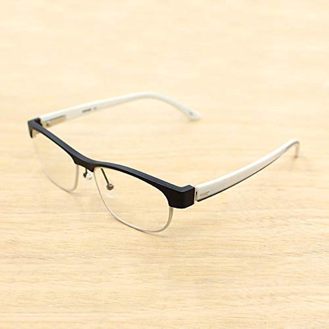 ハーフフレーム老眼鏡、男性用および女性用老眼鏡、スタイリッシュなツートンカラーメガネ、アンチブルー抗疲労コンピュータ用メガネ、読書およびオフィス用、メガネケース付き