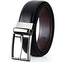 Men's Leather Genuine Dress Belt Reversible with Rotated Buckle