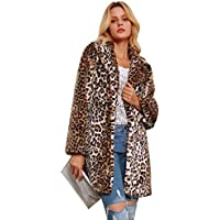 Faux Fur Jacket Coat, Womens Leopard Sexy Faux Fur Jacket Coat Long Sleeve Winter Warm Fluffy Parka Overcoat Outwear Tops