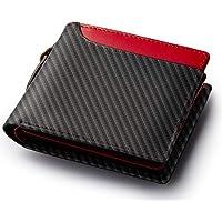 Healthknit (ヘルスニット) 財布 二つ折り財布 小銭入れ カーボンレザー 大容量
