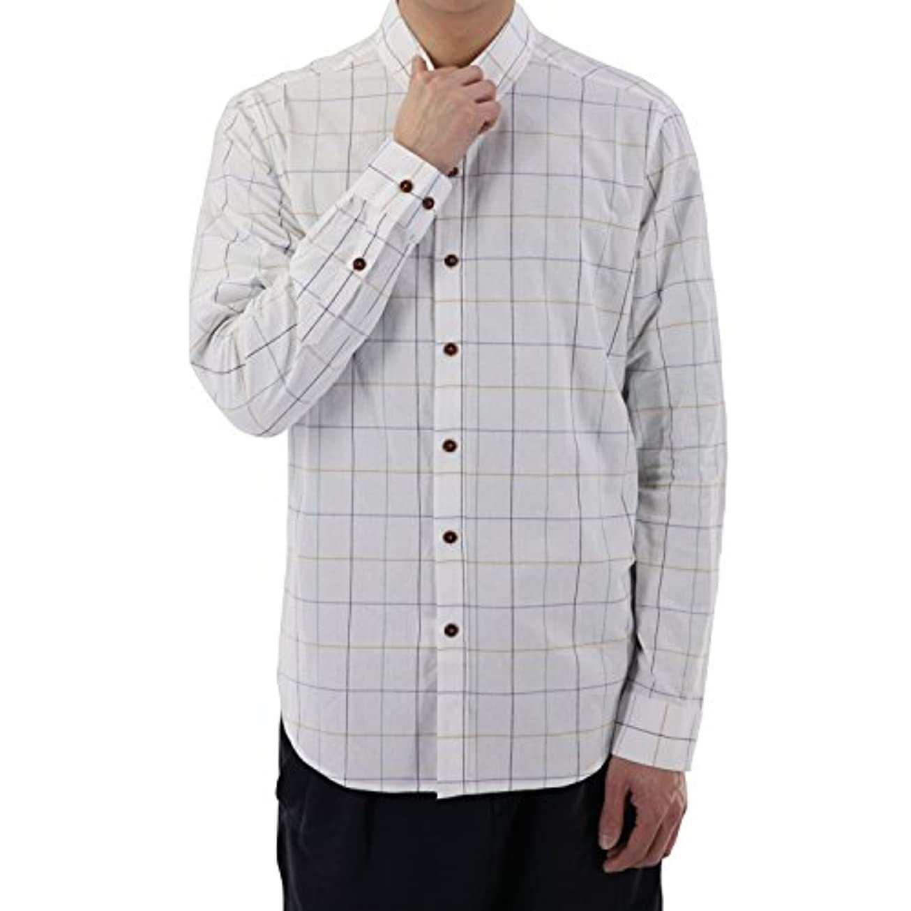 ファックス幽霊従者ベラバント(Veravant)シャツ メンズ チェック 長袖 ワイシャツ ボタンダウン 襟 おしゃれ カジュアルシャツ S-XL 全5色 オールシーズン