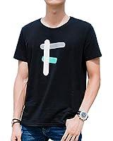 KTMOUW Tシャツ メンズ 半袖 カットソー 無地 クルーネック 夏服 カジュアル 大きいサイズ 通勤 通学 ゆったり 丸首 薄手 綿 快適 父の日 ブラック#F L