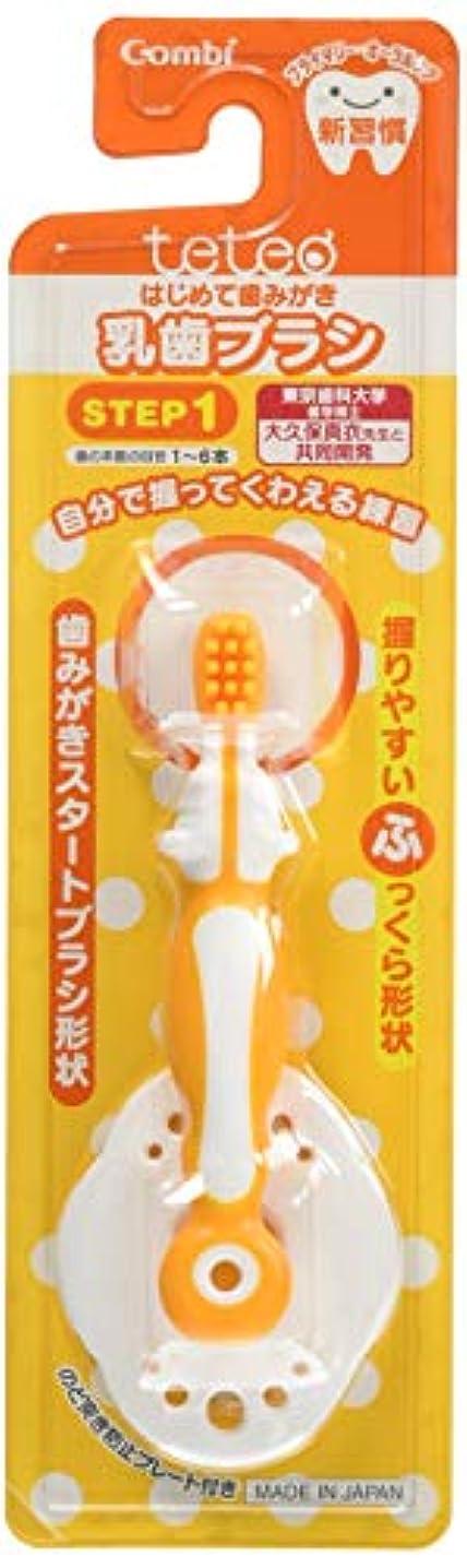 郵便物不満きらめく【日本製】コンビ Combi テテオ teteo はじめて歯みがき 乳歯ブラシ STEP1 (歯の本数の目安:1~6本) 最初の歯が生えはじめたら