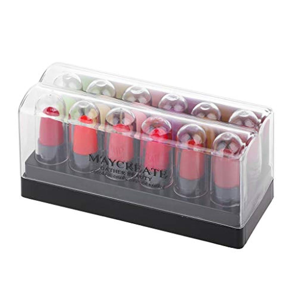 歌うパテ散るKimyuo 12ピースミニ口紅サンプル保湿セクシーな赤い唇ヌード防水長続き化粧品リップメイク
