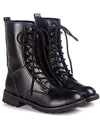 [アーカーワークス] 編み上げ ブーツ 太ヒール 3.5CM レースアップ 柔らか素材 超軽量 安定感有 歩きやすい 袴 成人式 卒業式にも最適 ブラック 黒