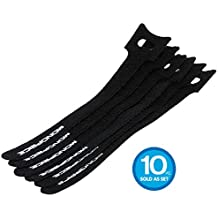 Monoprice Hook and Loop Fastening Cable Ties, 6 in, 10 pcs/Pack, Black