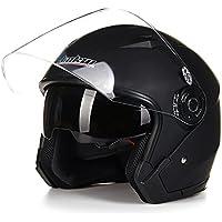 バイクヘルメット ジェットヘルメット JIEKAI JK-512 超人気 Bike Helmet メンズ レディース 10色選択可 艶消しブラック(透明シールド)XXL