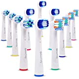 KeeTidy Electric Toothbrush Replacement Heads Compatible With Oral B Braun, Pack Of 12 Replacement Toothbrush Heads Fits Oralb Bases, Includes 4 Precision Clean+4 Floss Action+4 Cross Action Brush
