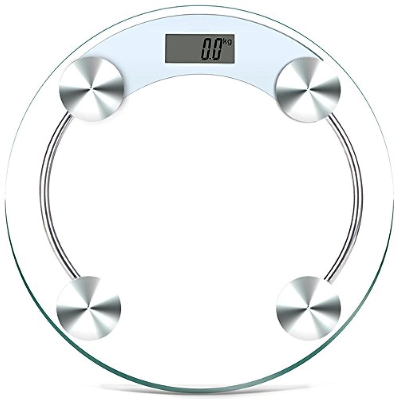 繁雑容器すべきLVZAIXI ラウンド電子ガラスバスルームスケールデジタルLCDディスプレイ体重計180 Kg