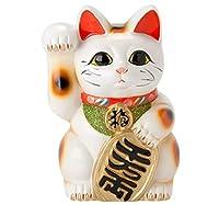 常滑焼  招き猫 梅月   白小判猫 (右手)7号高さ:23cm 14ねこ04