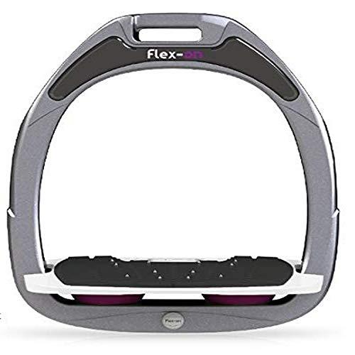 【Amazon.co.jp 限定】フレクソン(Flex-On) 鐙 ガンマセーフオン GAMME SAFE-ON Mixed ultra-grip フレームカラー: シルバー グレー フットベッドカラー: ホワイト エラストマー: プラム 93503