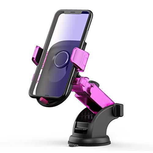 Cogshou 車載ホルダー スマホホルダー 車載スタンド 伸縮アーム 携帯車載ホルダー 繰り返し使えるゲル吸盤 360°回転可能 全機種対応 着脱簡単 1年間保証 (紫)