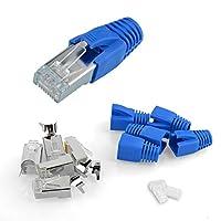 S SIENOC 10パックニッケルメッキRJ45キャットコネクタ7A /キャット7 /キャット6Aモジュラーネットワークプラグコネクタカバー+ガイド+キンク防止スリーブ