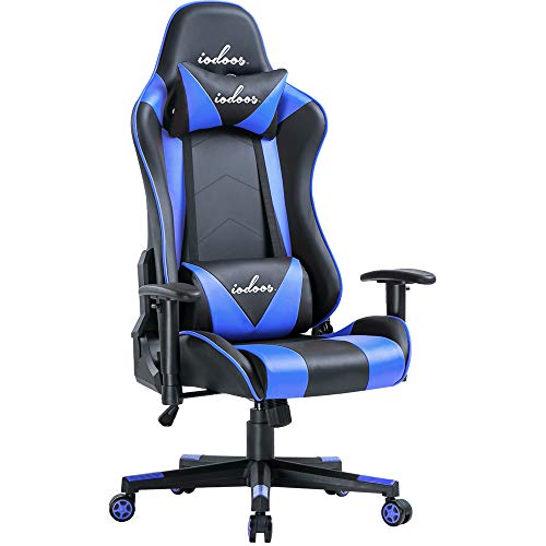 IODOOS ゲーミングチェア ハイバック gaming chair パソコンチェア 180度リクライリング 上下昇降機能10cm 高級感PUレザー ヘッドレスト付き ランバーサポート付き 肘掛 昼寝チェア